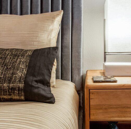 metallic fabrics in guest bedroom